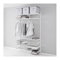 """IKEA """"АЛЬГОТ"""" Настенная шина/проволочные корзины, белый, 132x40x196 см"""