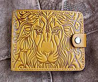 Портмоне № 2 Лев желтый из натуральной кожи