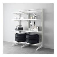 """IKEA """"АЛЬГОТ"""" Стойка/ножка/полки, металл белый, 147x67x194 см"""