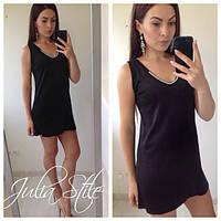 Женское летнее чёрное платье со стразами