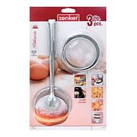 Набор: шумовка-щипцы для пончиков 28см + 2 формы D 8, D 9.5 см для вырезания пончиков, сталь, Fackelmann 684752