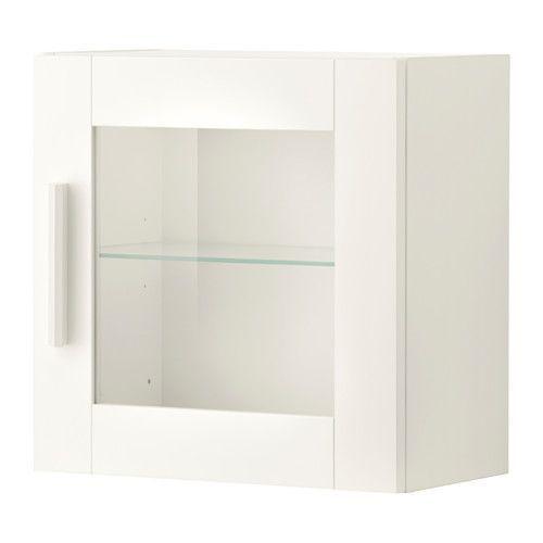 """IKEA """"БРИМНЭС"""" Навесной шкаф со стеклянной дверью, белый - IKEA-BOOM в Киеве"""