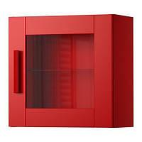 """IKEA """"БРИМНЭС"""" Навесной шкаф со стеклянной дверью, красный"""