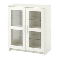 "IKEA ""БРИМНЭС"" Шкаф с дверями, белый, стекло"