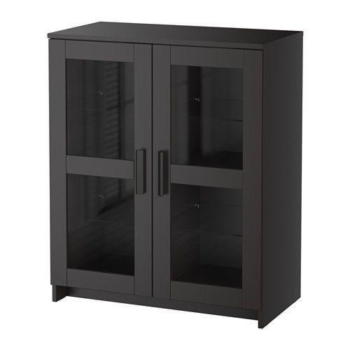 """IKEA """"БРИМНЭС"""" Шкаф с дверями, черный, стекло"""