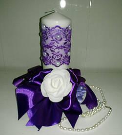 Свадебная свеча ручной работы фиолетовый