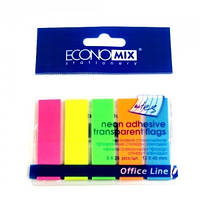 Бумага ECONOMIX 5 цв. неон 5*25л. прозр. (закладки) Е20945