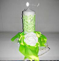 Свадебная свеча ручной работы салатовый