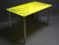 Стол кухонный стеклянный Цветочная волна, ножки хром 91х61 *Эко (Бц-Стол ТМ)