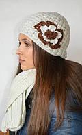 Комплект (шапка с цветком и шарф) бежево-серый шерстяной