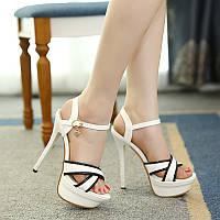 Босоножки с камнями высокие каблуки 14см  2 цвета