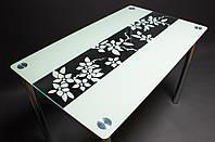 Стеклянный стол Цветы рая Белый, ножки хром 91х61 *Эко (Бц-Стол ТМ)