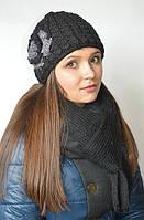 Комплект (шапка с цветком и шарф) черный, фото 1