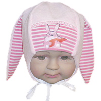 Детская велюровая шапочка с подкладкой (интерлок) и завязками, ТМ Мамина мода, р. 36, 38, 40, 42, 44