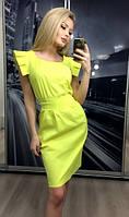 Платье коктейльное с крылышками, желтое