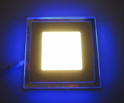 Светодиодная панель LM 500 6W 4500K квадрат син. подсветк. наружн. Код.58662