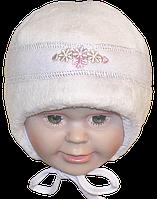 Детская зимняя термо шапочка р. 38 для новорожденного с завязками 1424 Белый