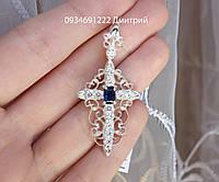 Срібний хрестик з камінням Арт.410550