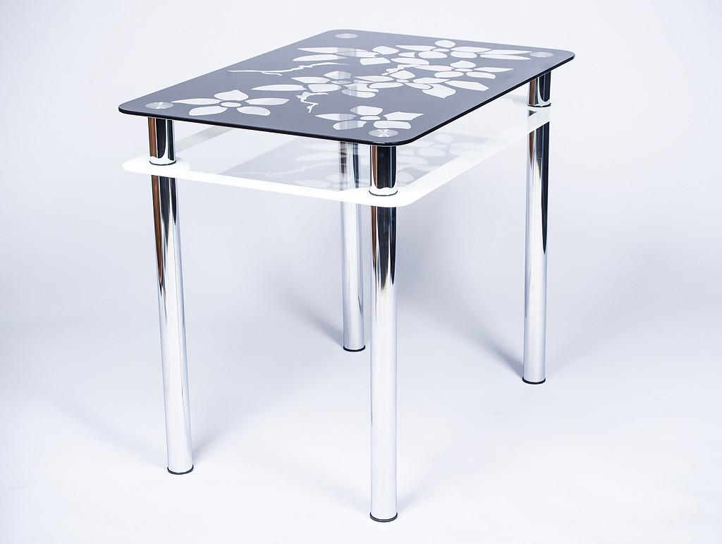Стол кухонный стеклянный Цветы рамка черно-белый 91х61 *Эко (Бц-Стол ТМ)