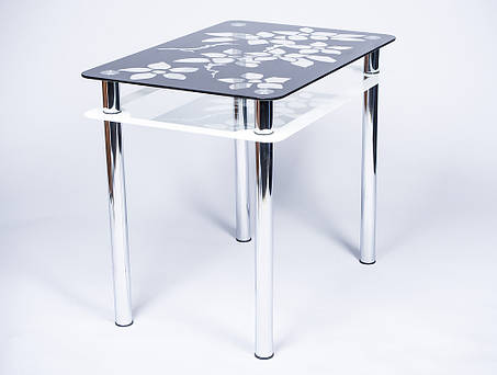 Стол кухонный стеклянный Цветы рамка черно-белый 91х61 *Эко (Бц-Стол ТМ), фото 2