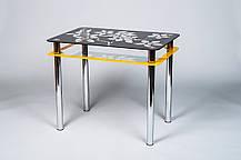 Стол кухонный стеклянный Цветы рамка оранжево-черный 91х61 *Эко (Бц-Стол ТМ), фото 3