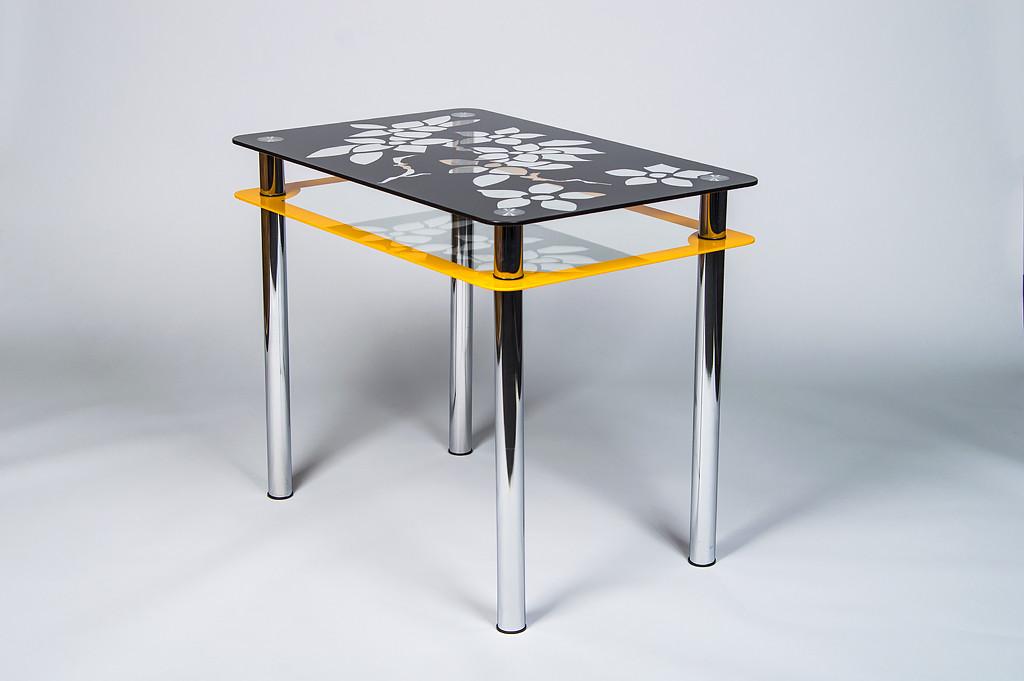 Стіл кухонний скляний Квіти рамка помаранчево-чорний 91х61 *Еко (Бц-Стіл ТМ)