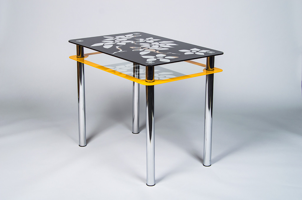 Стол кухонный стеклянный Цветы рамка оранжево-черный 91х61 *Эко (Бц-Стол ТМ)