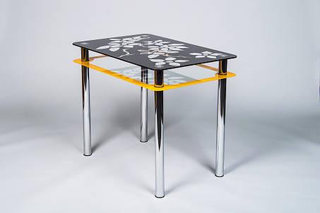 Стіл кухонний скляний Квіти рамка помаранчево-чорний 91х61 *Еко (Бц-Стіл ТМ), фото 2