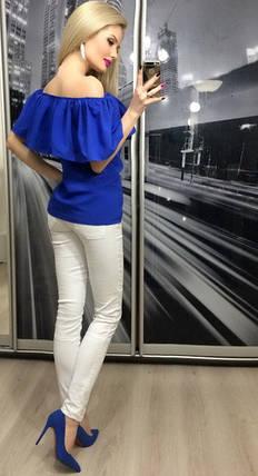 Кофта женская с приспущенными плечами ft-258 электрик, фото 2