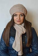 Комплект (шапка с шарфом) бежевый