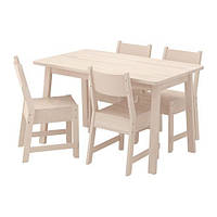 "IKEA ""НОРРОКЕР"" Стол и 4 стула, белая береза, 125 см"