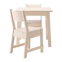"IKEA ""НОРРОКЕР"" Стол и 2 стула, белая береза, 74 см"