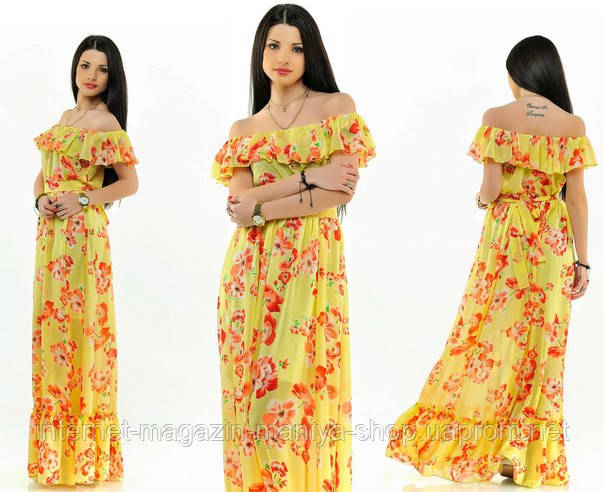 Платье женское  в пол рюши