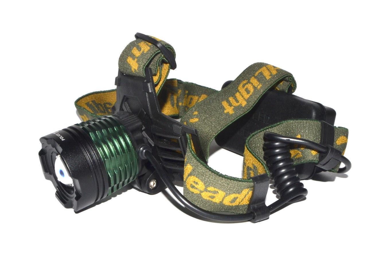 Налобный тактический фонарик Police BL-2189 99000W+UF 2 диода 2 АКБ