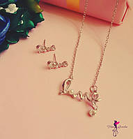 Набор Love/ серьги и ожерелье/ бижутерия/ цвет серебро