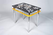 Стіл кухонний скляний Квіти рамка помаранчево-чорний 91х61 *Еко (Бц-Стіл ТМ), фото 3