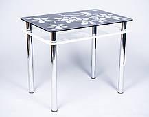 Стол кухонный стеклянный Цветы рамка черно-белый 91х61 *Эко (Бц-Стол ТМ), фото 3