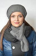 Комплект (шапка с шарфом) серый