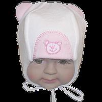 Детская велюровая шапочка с подкладкой (интерлок) и завязками, ТМ Мамина мода, р. 42