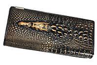 """Кожаный женский кошелёк натуральная кожа Крокодил""""CROCODILE"""". ALLIGATOR.клатч,бумажник.портмоне бронзовый"""