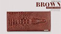 """Кожаный женский кошелёк натуральная кожа крокодил""""CROCODILE"""" ALLIGATOR.клатч,бумажник.портмоне коричневый"""