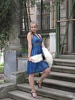 Платье вечернее с открытой спиной (синее), р-р 46