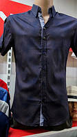 Рубашка мужская темная короткий рукав 3 кнопки