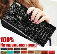 """Кожаный женский кошелёк натуральная кожа Крокодил CROCODILE"""" клатч,бумажник.портмоне чёрный кожа+Подарок"""