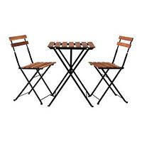 """IKEA """"ТЭРНО"""" Стол+2стула, д/сада, черный акация, сталь серо-коричневая морилка"""