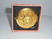 Зеркальце в подарочной упаковке , золото №7185, карманное, косметическое зеркальце, подарки для женщин