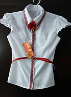 Блузка девичья с вышивкой. Короткий рукав. Размеры: 128-152.