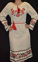 """Платье на бязи суровой вышитое """"Традиция"""", 42-46 р-ры, 800\700 (цена за 1 шт. + 100 гр.)"""