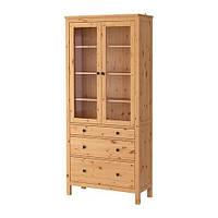 """IKEA """"ХЕМНЭС"""" Шкаф-витрина с 3 ящиками, светло-коричневый"""