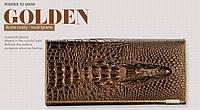 """Кожаный женский кошелёк натуральная кожа Крокодил """"CROCODILE"""" ALLIGATOR.клатч,бумажник.портмоне Золотой"""